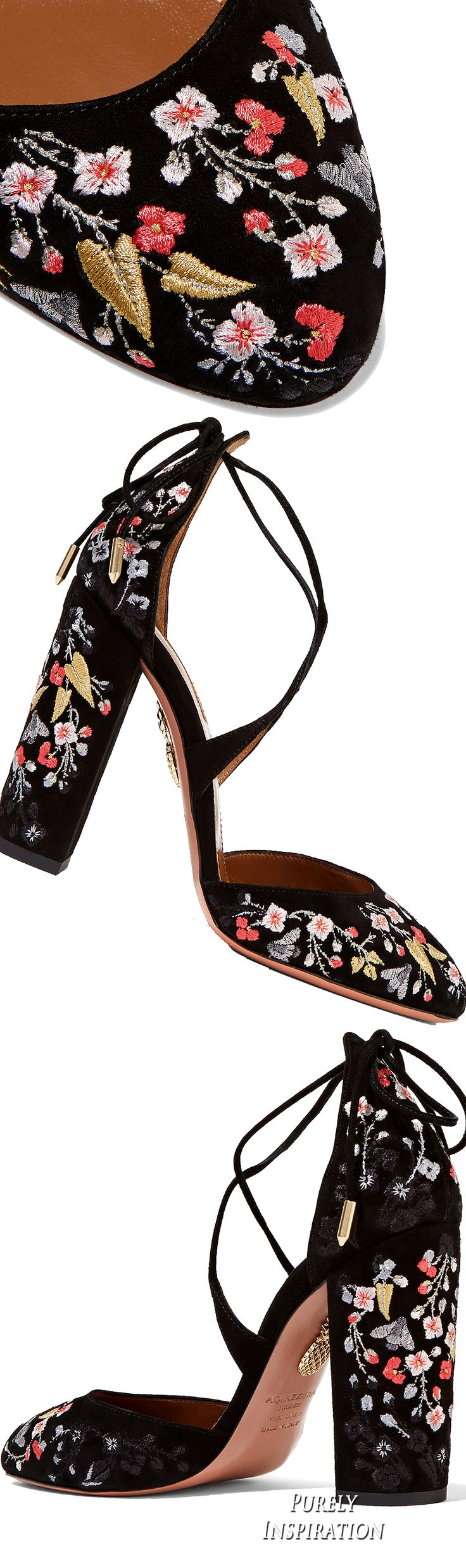 Aquazzura Karlie embroidered suede pumps http://www.utelier.com/