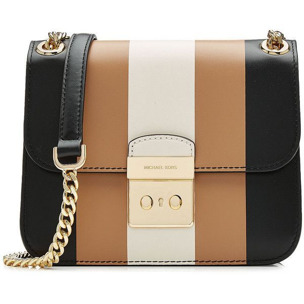 Michael Michael Kors Sloan Striped Leather Shoulder Bag ($359) ❤ liked on Polyvore featuring bags, handbags, shoulder bags, purses, striped, handbag purse, hand bags, striped purse, man bag and leather purses