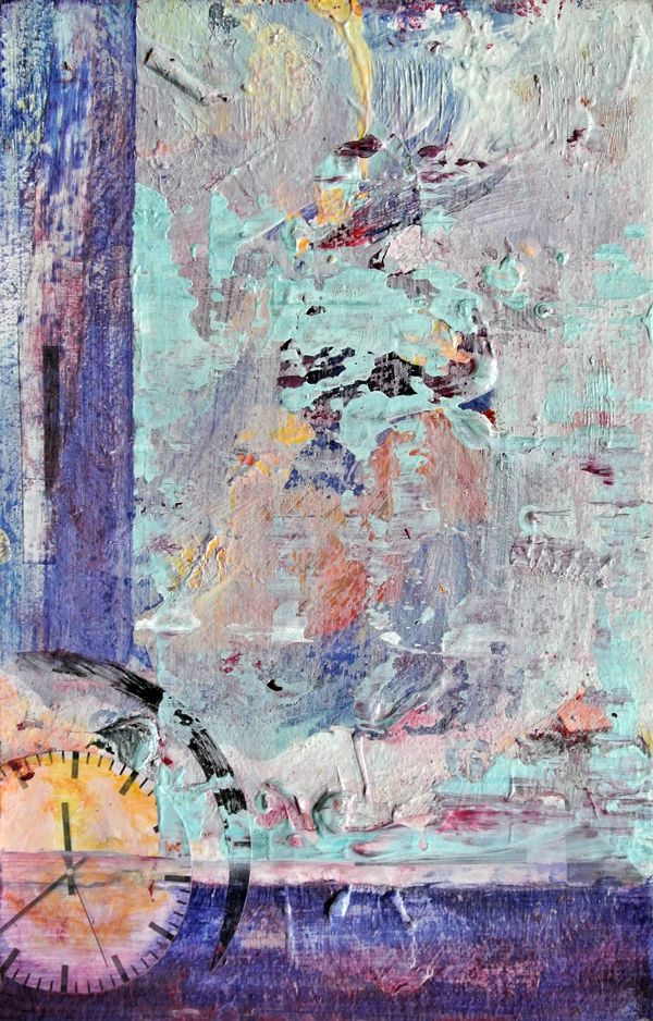 Плавающее Время. Холст на кртоне, акрил, коллаж, бумага, картон. 16x25 см. 5000р. Floating Time. Canvas on cardboard, acrylic, collage, paper, cardboard. 16x25 см. 100 euro
