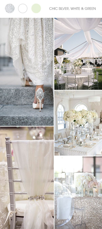 stříbrná, bílá a světle zellená silver and white wedding color ideas trends 2017