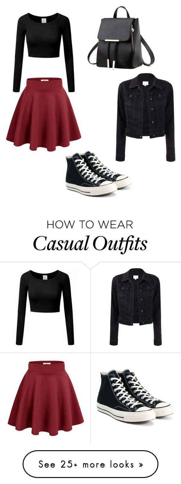 """""""Casual Crimson"""" by ladylace457 on Polyvore featuring Converse"""