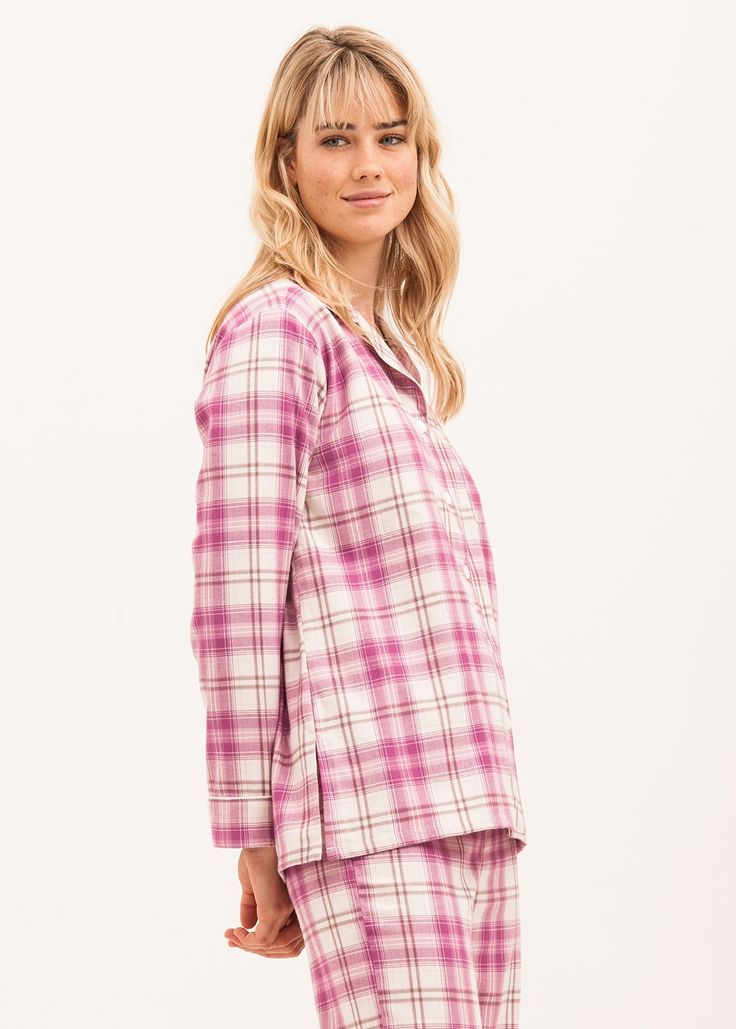 Please note M Tall & L Reg will be dispatched w/c 11th December.  Other sizes available for immediate dispatch. Luxury brushed cotton pyjamas for women in a fun pink and cream check.  These cosy pyjamas are finished with pale pink piping and real shell buttons.   This fabric is also available in trousers or shorts if you'd prefer to pair it with a vest rather than a jacket.  You will also find this fabric in the 11-14yrs old girls collection. Fabric type: Brushed cotton.