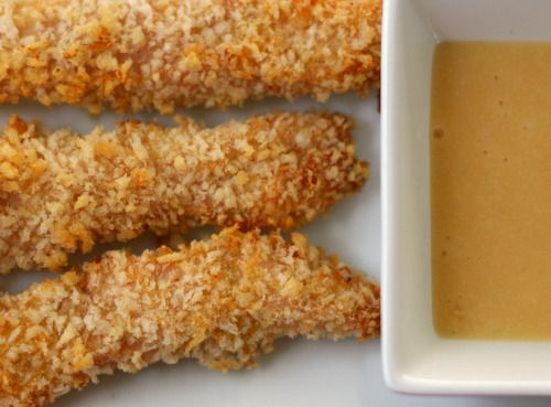 Baked chicken fingers w/ honey mustard sauce