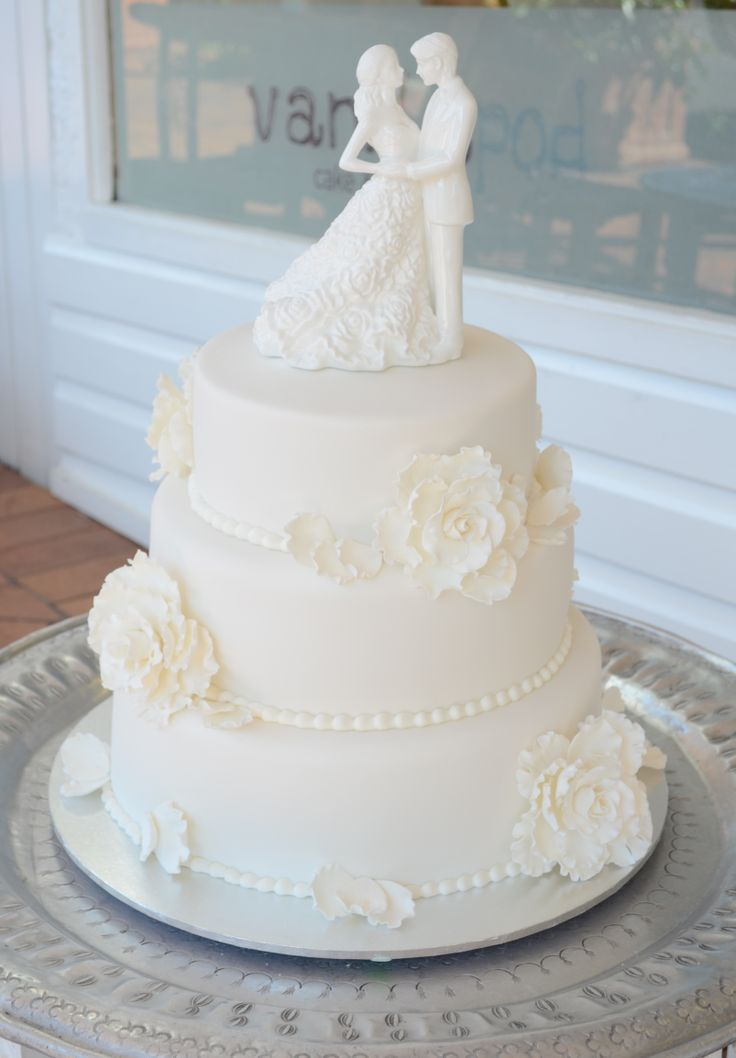 Wedding Cake, three tiered red velvet with fondant detailing
