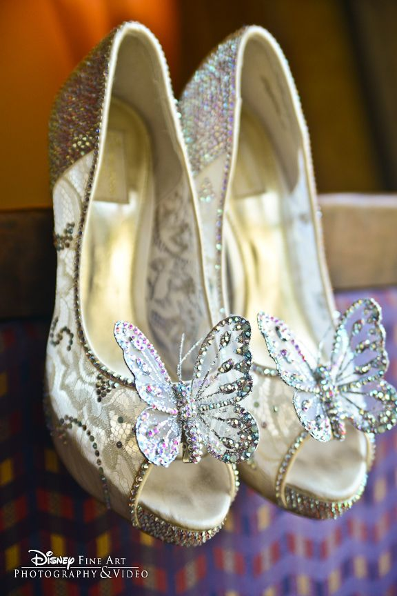 "Cinderella ""glass slippers"" ...What's not to love about these stunning lace bling heels featuring iridescent butterflies?! ..."