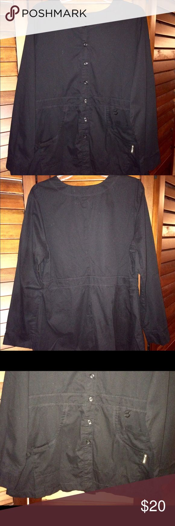Koi Woman's Olivia Scrub Jacket Style# 406 Large Koi Woman's Olivia Scrub Jacket Style# 406 Size Large Koi stretch scrub black jacket Size Large Style Olivia  Style 406 Pockets Button Front Perfect for the cold air conditioned hospitals and offices during the summer koi by kathy peterson Jackets & Coats