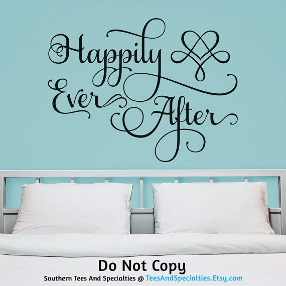 Personalized Word Art Vinyl Wall Decal by TeesAndSpecialties. Happily Ever After Infinity Heart - Love Wedding Fairytale Marriage Mr and Mrs Bride & Groom Husband & Wife Couple Fancy Flourish themed - vinyl wall decal. Available in multiple sizes.