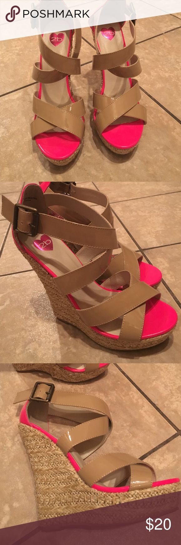 Nude wedges with hot pink lining, size 7 Gorgeous summer nude wedge with hot pink lining! Size 7, 2b Bebe bebe Shoes Wedges