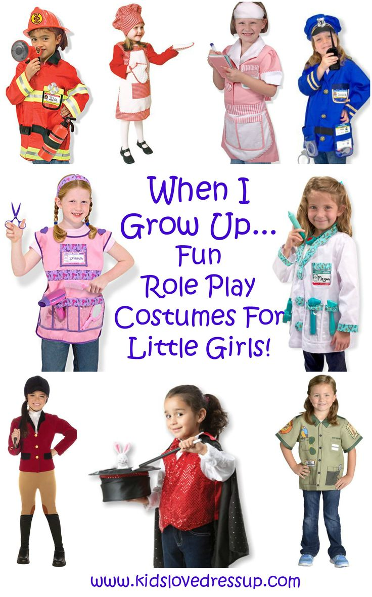 When I grow up, I want to be... check out this fun collection of girls dress up costumes all about careers little girls will love! Check out these career day costumes at www.kidslovedressup.com  girls costumes, dress up for girls, costumes for girls, career day, kids costumes, Halloween costumes for girls, cute costumes girls, non-scary costumes girls, dress up for kids