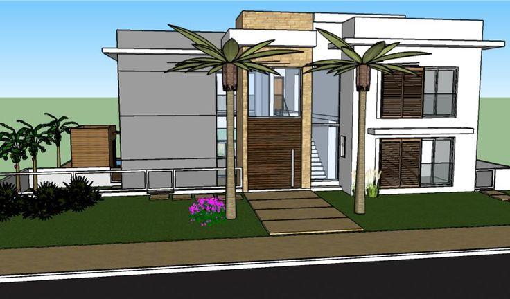 Estudo fachada frontal residência L&F - Cotia - SP. Por Denise Della Paschoa Zanetti / DM_Projeção Arquitetura.
