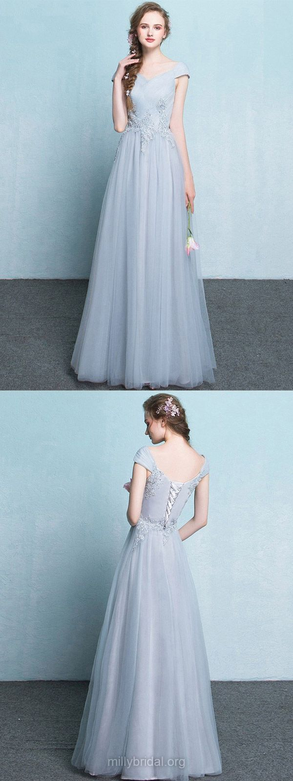 Lace Bridesmaid Dresses Long, Silver Bridesmaid Dresses 2018, Grey Bridesmaid Dresses A-line, V-neck Bridesmaid Dresses Tulle with Appliques