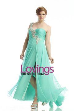 2014 One Shoulder A Line Prom Dress Ruffled Bodice Beaded Straps With Slit Chiffon Sexy US$ 149.99 LDPGC5C8GQ - lovingsdresses.com