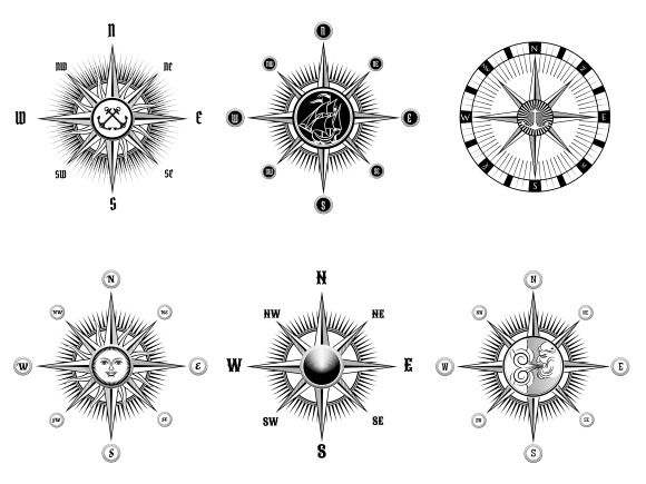 Vintage nautical or marine compass by Microvector on @creativemarket