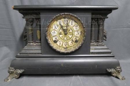 E Ingraham Quot Adrian Quot Black Mantel Clock Antique Clocks
