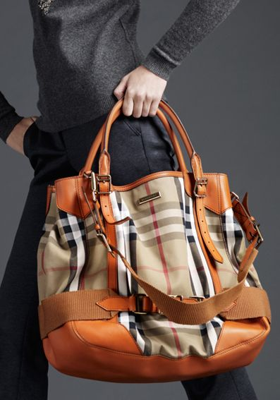 Burberry Prorsum Vintage House Check Tote In  tangerine