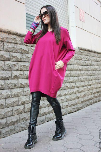 Купить или заказать Платье Fuchsia Furia в интернет-магазине на Ярмарке Мастеров. Потрясающее, яркое платье из джерси насыщенного цвета фуксия.Модель с карманами, вырез горловины -треугольником, платье с удлиненными рукавами и силуэтом баллончик. Платье теплое, комфортное, свободное. Платье прекрасно подойдет для осени/ зимы/ весны Отлично впишется в любой образ с любой обувью. Состав; Ткань джерси 90% шерсть 10% лайкра Цвет; Красно-коралловый Черный Сливовый Бежево-сливочный&he...