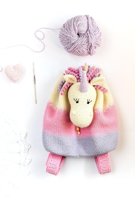 Unicorn crochet backpack, Handmade backpack, Goddaughter gift, Boho nursery, kindergarten backpack,
