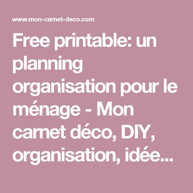 Best 25 planning m nage ideas on pinterest m nage - Organisation menage quotidien ...