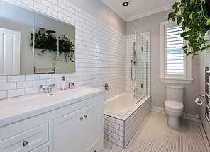 Villa Homes create bathrooms that meet the requirements of modern life while still retaining classic villa styling.