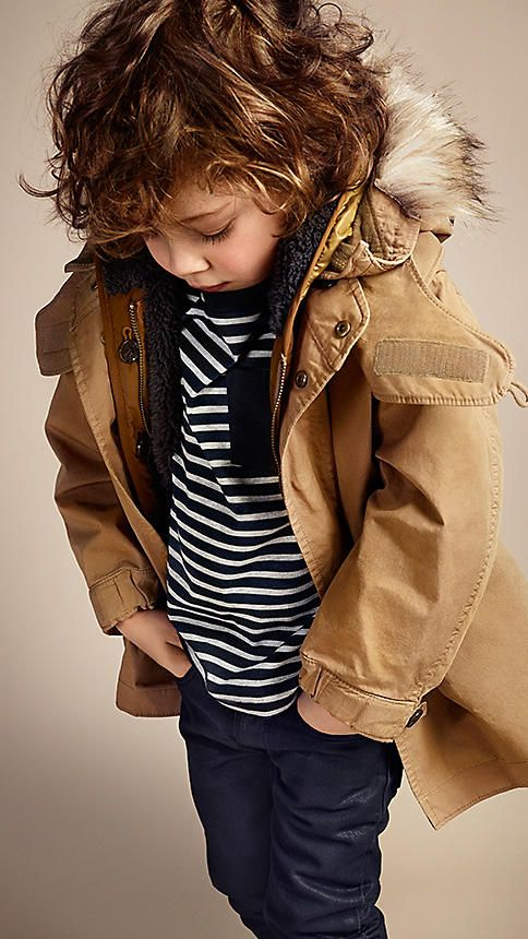 My son will have a beautiful head full of gorgeous hair just like this! Kids wear : DETACHABLE WARMER PARKA | burberry