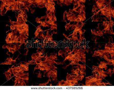 A collection of high-resolution bright fire flames on a black background