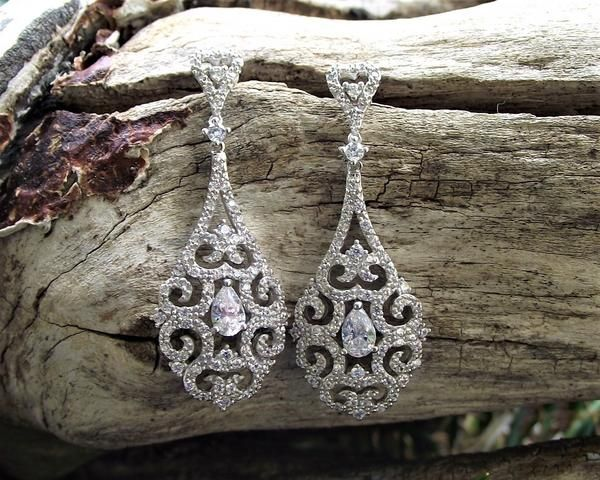 Drop Style Filigree and Crystal Earrings, Halo 2