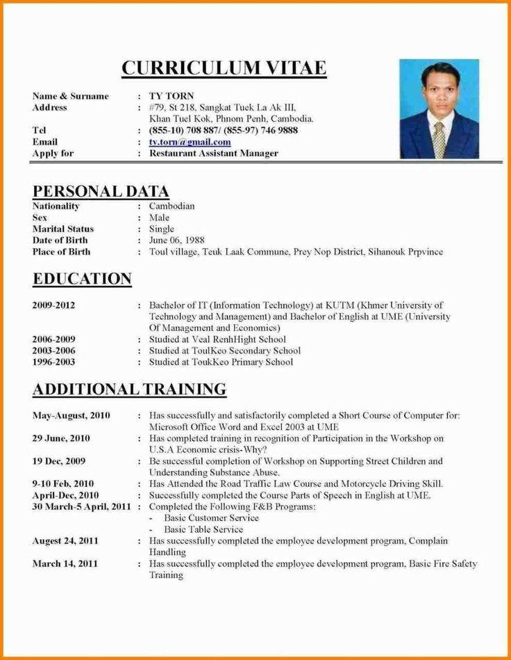 Cv Examples For Job Application Cv Format For Job Job Resume Template Resume Template Word