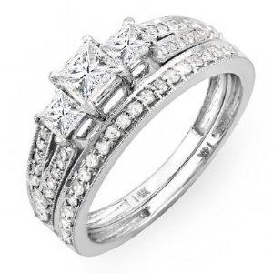 1.20 Carat (ctw) 14k White Gold Brilliant Princess Cut 3 Stone Diamond Ladies Engagement Bridal Ring Set Matching Band --- http://www.pinterest.com.itshot.me/2i.
