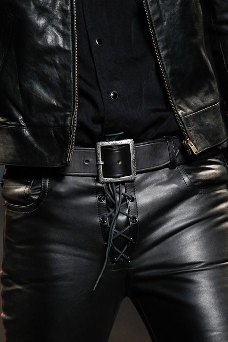 Saint Laurent  Spring 2015 Menswear Collection by Style.com.  Details. Leather pants.