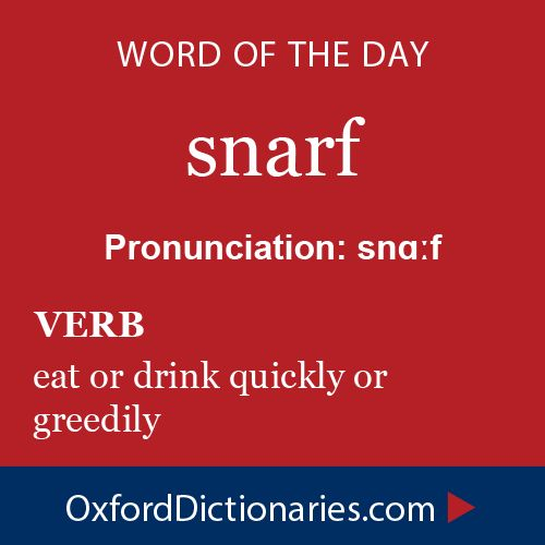 snarf (verb): eat or drink quickly or greedily. Word of the Day for 26 December 2014 #WOTD #WordoftheDay #snarf