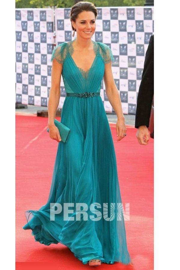 """Chiffon V-Ausschnitt Prinzessin Kate Promi-Kleid auf dem """"London Olympic Gala-Konzert - € 168 - Abendkleider - online Kaufen"""