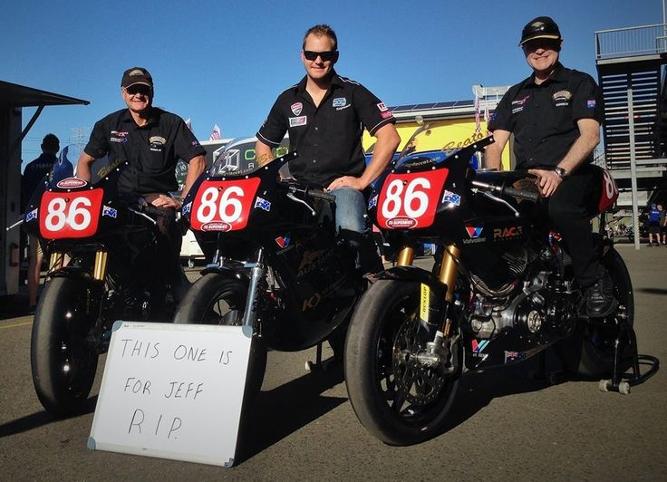 Winners of the Australian 2015 Super Bike Championship - FX Pro Twin series. IV 1600 four valve V twins. (Plus a two valve V twin in the middle). (L-R) Barry, Baeu and Ken, Team Irving Vincent.