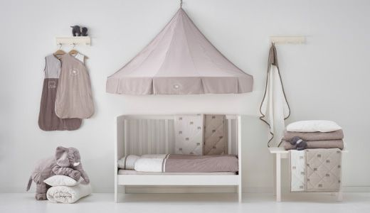 Ikea: CHARMTROLL children's and baby textiles, including canopy and blankets with SUNDVIK cot.