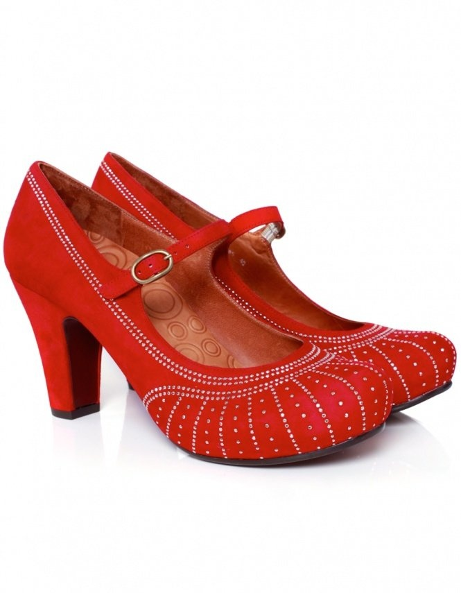 Red Poison Studded Mary Jane Shoes