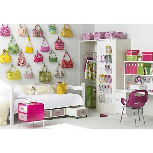 Decorating with colourful handbags