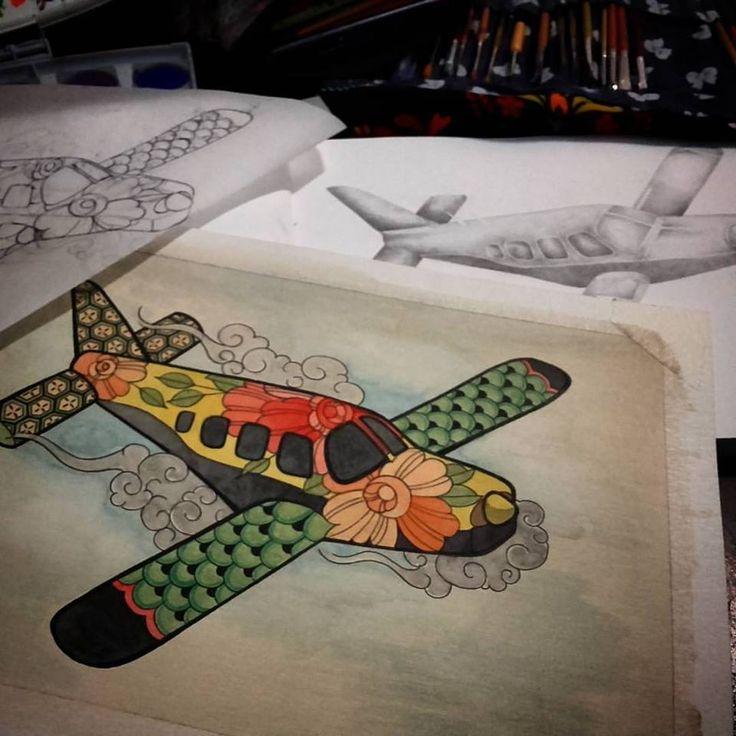 estudiando un poco en esta tarde lluviosa! ..... este avión en grafito y acuarela adelantando nuestras ganas de viajar. los espero como cada día en @timetattoostudiomdq olavarria 2831 casi esquina garay.  #aeroplane #volar #viajar #tattootrip #trip #travelandtattoo #tattootravel #acuarela #pen #lovework #neverboring #tatuajemardelplata #argentinatattoo #avion