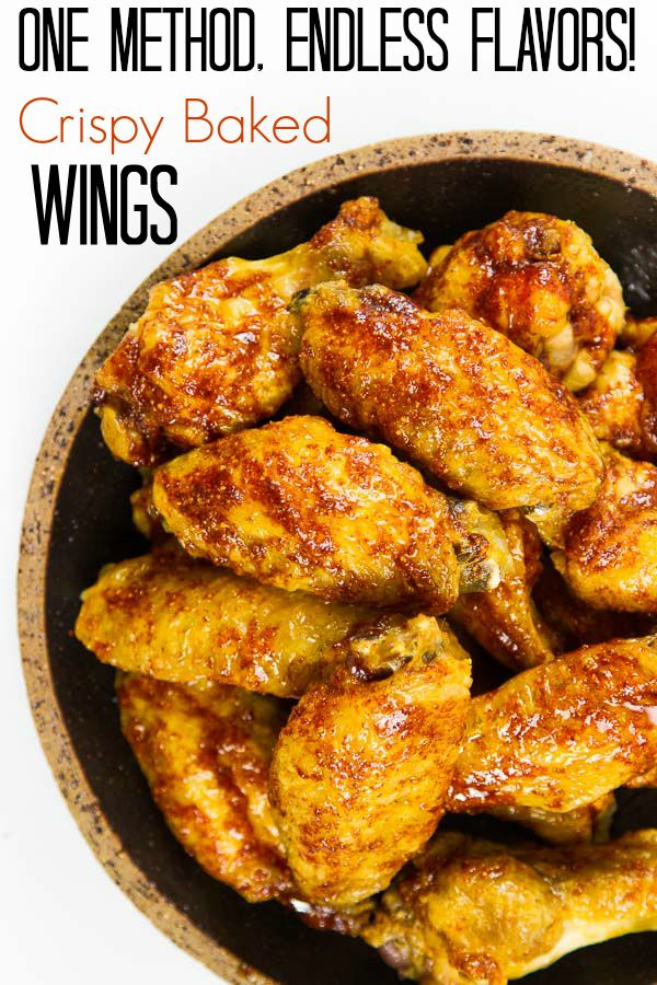 """The answer to """"How to Bake Chicken Wings"""" and they really do turn out crispy! You'll never need another recipe. ONE method, ENDLESS flavors!"""
