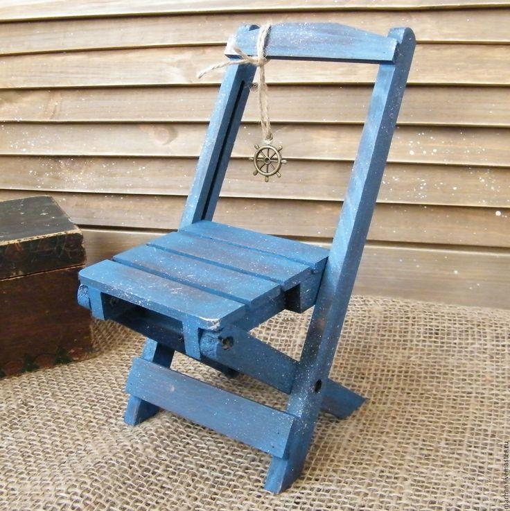 Купить Интерьерный складной стульчик для кукол и мишек Дачный. Декупаж - синий, стул, стульчик