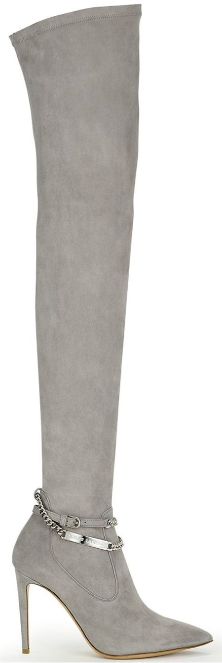 Ralph Lauren Collection Suede Tarina Boot (over the knee suede, with a chain ankle strap Ralph Lauren engraved ID plaque) LOOKandLOVEwithLOLO: Ralph Lauren Fall 2014 Accessories