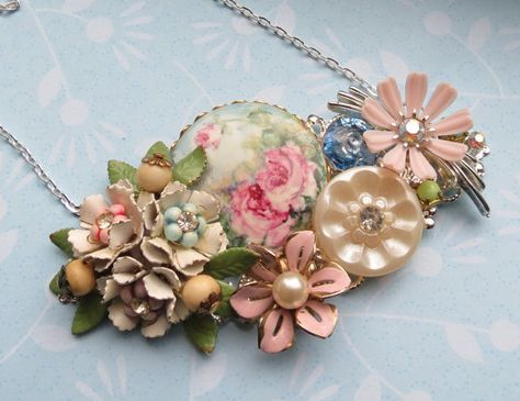 Vintage Repurposed Collage Necklace Shabby Chic by LucysRedRose