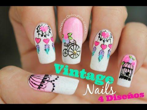 5 Diseños de uñas FACIL de Atrapasueños - 5 easy dreamcatcher nail art tutorial - YouTube