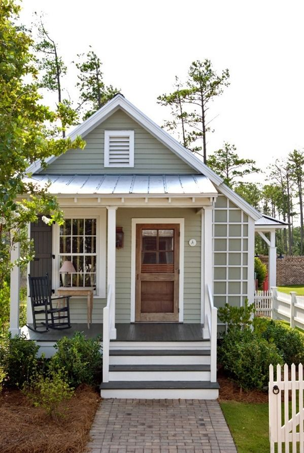 493 sq. ft. studio style cottage with a first floor bedroom designed by Our Town Plans. When you go inside, you'll find a one-level floor plan (no sleeping loft) with a bedroom, reading nook, bathroom and Kitchenette.