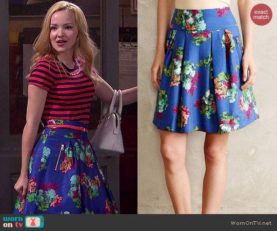 Liv's blue floral skirt on Liv and Maddie.  Outfit Details: http://wornontv.net/46301/ #LivandMaddie