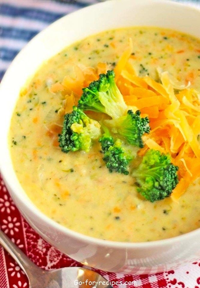 Cheese soup and mushrooms and broccoli.