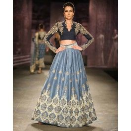 Anju Modi - Just gorgeous! Love the pairing of two shades of blue with intricate embroidery details.