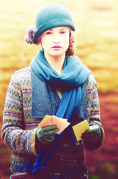 Lily James as Lady Rose McClare on the set of Downton Abbey (2013)