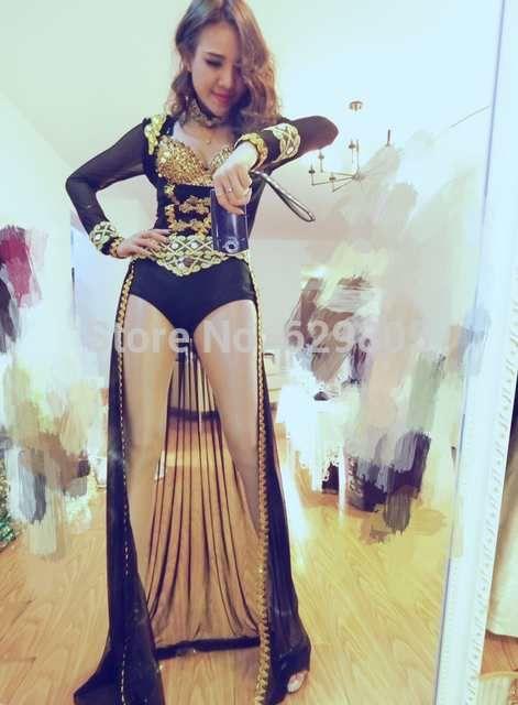 2016 New women sequins rhinestone 3 piece set long tail dress jumpsuit female  singer DS DJ dance costumes bodysuit nightclub bar 0e24439f807a