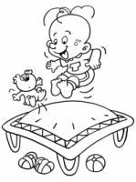 Tomke kleurplaat 'trampoline springe'
