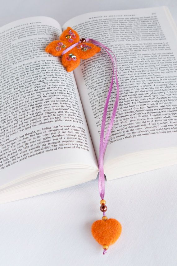 Needle Felted Wool Fall Orange Butterfly Bookmark by LigaKandele