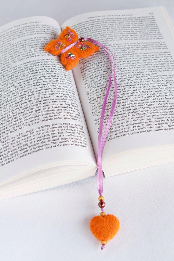 Needle Felted Wool Fall Orange Butterfly Bookmark by LigaKandele
